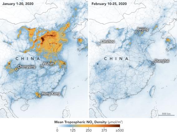 daling uitstoot China, bron: NASA